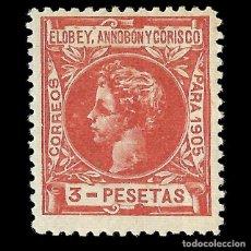 Sellos: SELLOS ESPAÑA.ELOBEY ANNOBÓN MORISCO 1905. ALFONSO XIII. EDIFIL Nº31.NUEVO**.3P. ROJO CASTAÑO.. Lote 161398518