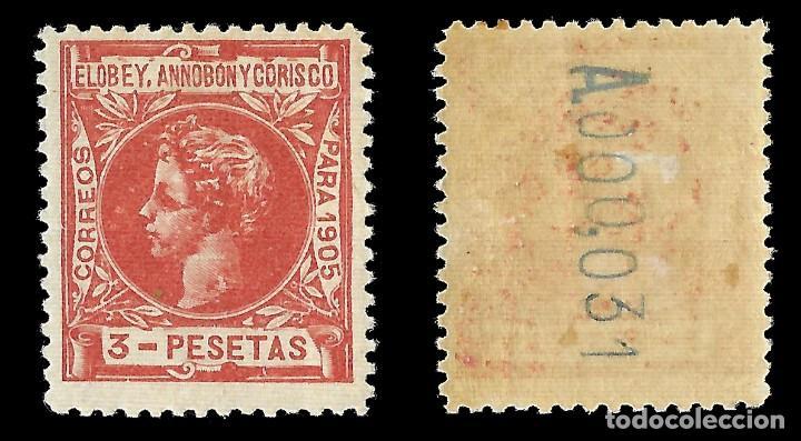 Sellos: Sellos España.ELOBEY ANNOBÓN MORISCO 1905. Alfonso XIII. Edifil nº31.Nuevo**.3p. rojo castaño. - Foto 2 - 161398518