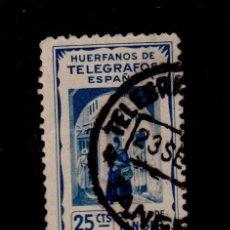Sellos: 0305 TANGER HUERFANOS DE TELEGRAFOS 25 CTS AZUL USADO. Lote 161548094