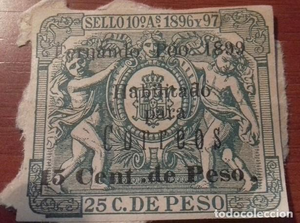 SELLO PÓLIZA FERNANDO POO 1896-1897 PÓLIZA DE 1899 HABILITADA PARA CORREOS. ,MUY RARA Y ESCASA (Sellos - España - Colonias Españolas y Dependencias - África - Fernando Poo)