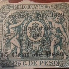 Sellos: SELLO PÓLIZA FERNANDO POO 1896-1897 PÓLIZA DE 1899 HABILITADA PARA CORREOS. ,MUY RARA Y ESCASA. Lote 163620010