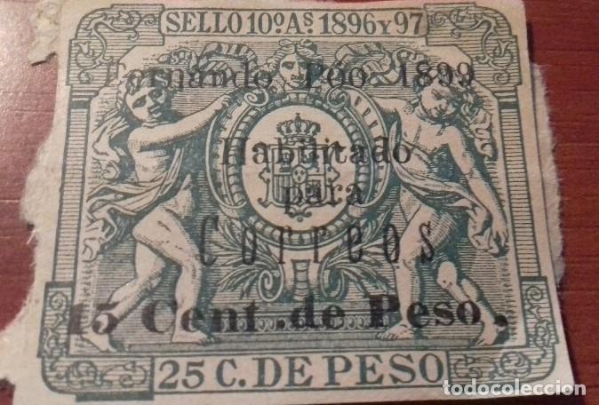 Sellos: SELLO PÓLIZA FERNANDO POO 1896-1897 Póliza de 1899 habilitada para correos. ,MUY RARA Y ESCASA - Foto 2 - 163620010