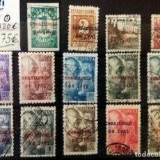Sellos: 1941-42 SERIE DE CIFRAS,CID Y GRAL.FRANCO MATASELLADA Y CON SOBRECARGA-TERRITORIO DE IFNI-CAT.1320 €. Lote 166687902