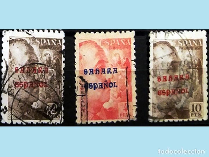 Sellos: 1941.-SERIE DE CIFRAS, CID y GRAL. FRANCO MATASELLADA Y CON SOBRECARGA -SAHARA ESPAÑOL .-Cat.1150 € - Foto 2 - 47437834
