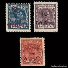 Sellos: SELLOS.COLONIAS ESPAÑOLAS.RÍO DE ORO.1911-1913. ALFONSO XIII. HABILITADO Nº59. Nº61 Nº64. Lote 117969815