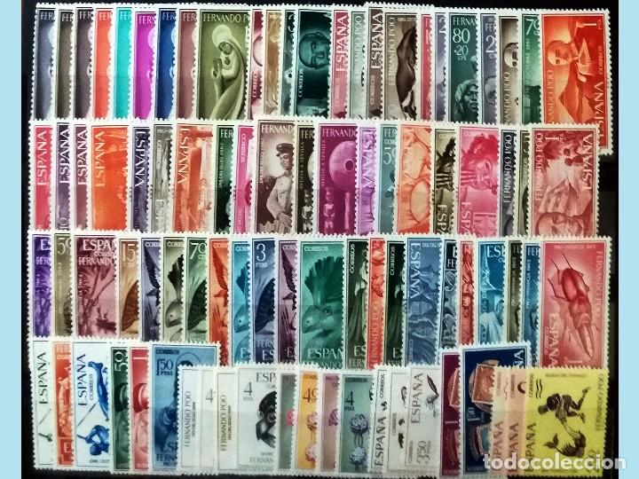 FICHA CON 89 SELLOS NUEVOS DE 1960 A 1968. COMPLETO CON SEÑAL DE FIJASELLOS. CAT.-61,5 € (Sellos - España - Colonias Españolas y Dependencias - África - Fernando Poo)