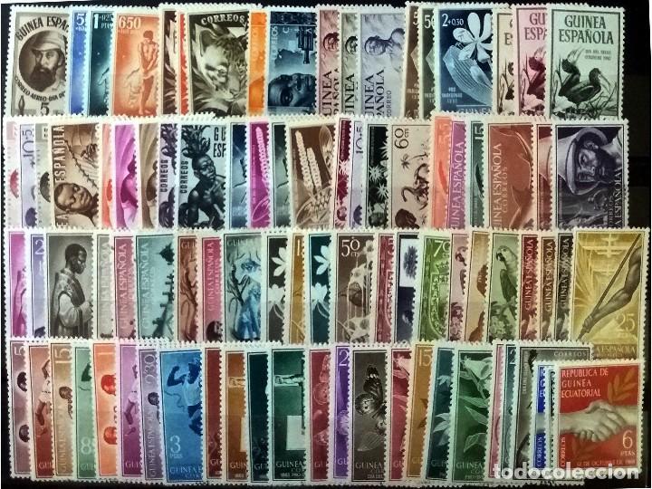 GUINEA CON 90 SELLOS NUEVOS DE1950 A 1959.EXCEPTO 298/304 Y 317 CON SEÑAL DE FIJASELLOS. CAT.166,6 € (Sellos - España - Colonias Españolas y Dependencias - África - Guinea)