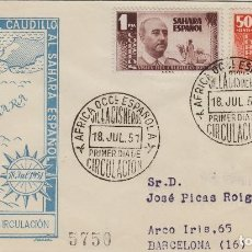 Sellos: SAHARA .VISITA GRAL FRANCO , 1951 ED 88,89 - SOBRE/SPD. S.F.C. .CIRCULADO, DORSO LLEGADA. Lote 167006664