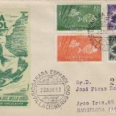 Sellos: SAHARA - DIA SELLO , FAUNA PECES , 1953 ED 108/11 .CIRCULADO, DORSO LLEGADA. Lote 167007612