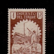 Sellos: 0305 MARRUECOS - IMPUESTO DEL TIMBRE - 1PTA - MARRON NUEVO, SIN GOMA. Lote 182462895