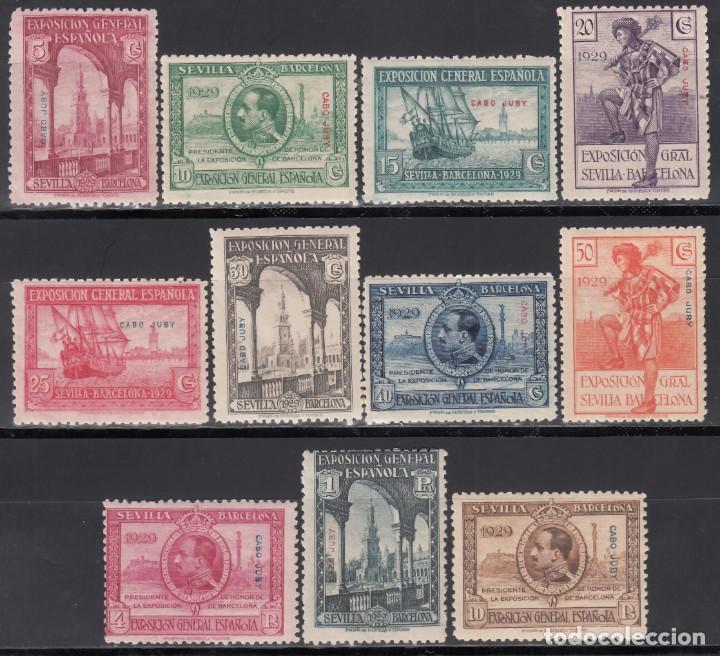 CABO JUBY. 1929 EDIFIL Nº 40 / 50 /**/, EXPOSICIÓN DE SEVILLA Y BARCELONA, SIN FIJASELLOS. (Sellos - España - Colonias Españolas y Dependencias - África - Cabo Juby)
