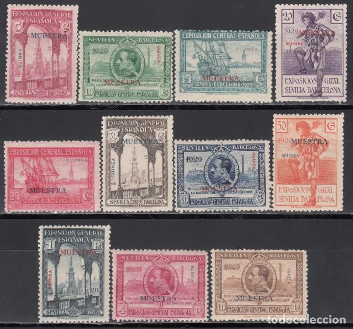 GUINEA.1929 EDIFIL Nº 191M / 201M /**/, EXPOSICIÓN DE SEVILLA Y BARCELONA,*MUESTRA* SIN FIJASELLOS. (Sellos - España - Colonias Españolas y Dependencias - África - Guinea)