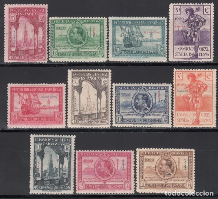 SAHARA. 1929 EDIFIL Nº 25 / 35 /**/, EXPOSICIÓN DE SEVILLA Y BARCELONA, SIN FIJASELLOS. (Sellos - España - Colonias Españolas y Dependencias - África - Sahara)
