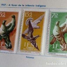 Sellos: SERIE COMPLETA 3 SELLOS IFNI 1957 PRO INFANCIA Nº 135/136/137. Lote 168256192