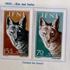 Sellos: SERIE COMPLETA 4 SELLOS IFNI 1957 DÍA DEL SELLO Nº 138/139/140/141. Lote 168256856