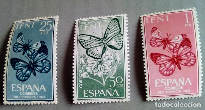 SERIE COMPLETA 3 SELLOS IFNI 1963 PRO INFANCIA MARIPOSAS Nº 195/196/197 (Sellos - España - Colonias Españolas y Dependencias - África - Ifni)