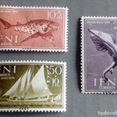 Sellos: SERIE COMPLETA 3 SELLOS IFNI 1958 DÍA DEL SELLO Nº 149/150/151. Lote 168330168