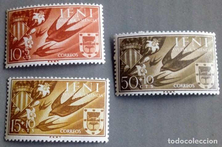 SERIE COMPLETA 3 SELLOS IFNI 1958 AYUDA A VALENCIA Nº 142/143/144 (Sellos - España - Colonias Españolas y Dependencias - África - Ifni)