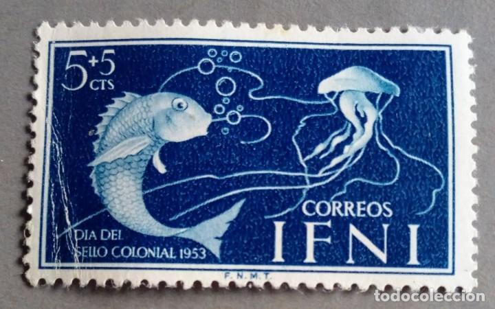 SELLO IFNI 1953 DÍA DEL SELLO 5C + 5C AZUL Nº 99 (Sellos - España - Colonias Españolas y Dependencias - África - Ifni)