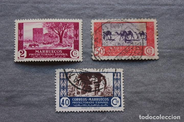 LOTE 3 SELLOS MARRUECOS PROTECTORADO ESPAÑOL (Sellos - España - Colonias Españolas y Dependencias - África - Marruecos)