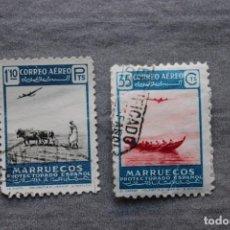 Sellos: 2 SELLOS CORREO AEREO PROTECTORADO ESPAÑOL EN MARRUECOS. Lote 169749616