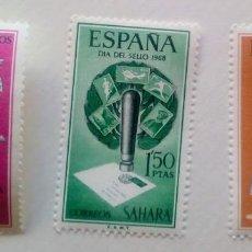 Sellos: SERIE COMPLETA 3 SELLOS SAHARA 1968 DÍA DEL SELLO Nº 268/269/270. Lote 169801768