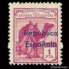 Selos: SELLOS ESPAÑA.SAHARA 1932.HABILITADOS. HORIZONTAL.1P LILA. NUEVO*. EDIFIL.45 B. Lote 171179569