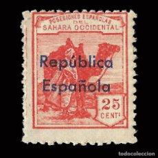 Selos: SELLOS ESPAÑA.SAHARA 1932.HABILITADOS.HORIZONTAL 25C.ROJO.NUEVO*. EDIFIL.40B. Lote 171185949