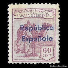 Selos: SELLOS ESPAÑA.SAHARA 1932.HABILITADOS.HORIZONTAL 60C.VIOLETA.NUEVO**. EDIFIL.44B. Lote 171186528