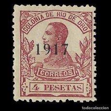 Sellos: SELLOS ESPAÑA. RÍO DE ORO. 1917 ALFONSO XIII.HABILITADO.4P. CARMÍN.NUEVO** EDIFIL 102. Lote 171777617