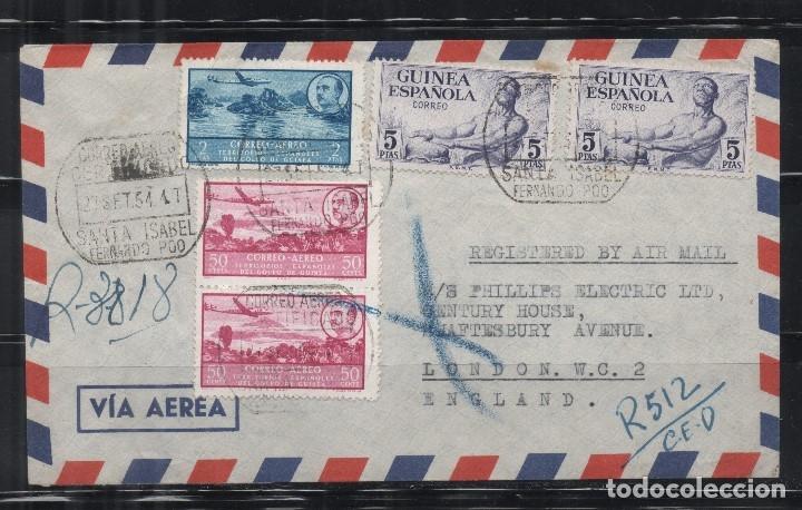 GUINEA ESPAÑOLA_CARTA A INGLATERRA_PRECIOSO FRANQUEO_ VER 2 FOTOS (Sellos - España - Colonias Españolas y Dependencias - África - Guinea)
