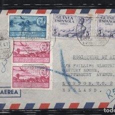 Sellos: GUINEA ESPAÑOLA_CARTA A INGLATERRA_PRECIOSO FRANQUEO_ VER 2 FOTOS. Lote 173649362