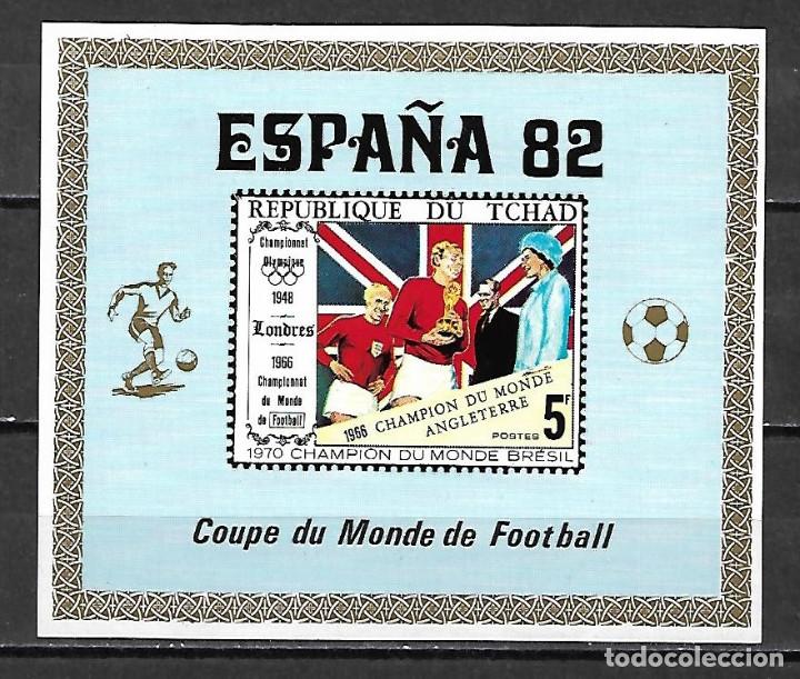 MUNDIAL ESPAÑA 1982 HOJA BLOQUE SIN DENTAR DE TCHAD NUEVA PERFECTA (Sellos - España - Colonias Españolas y Dependencias - África - Otros)