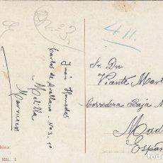 Sellos: MARRUECOS. POSTAL DE 1911 DE MELILLA A MADRID CON MARCA 'REGIMIENTO MIXTO INGENIEROS'.. Lote 174407433