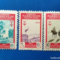 Sellos: NUEVO **. MARRUECOS ESPAÑOL. AÑO 1954. EDIFIL 394, 395, 396. PRO TUBERCULOSOS.. Lote 174502998