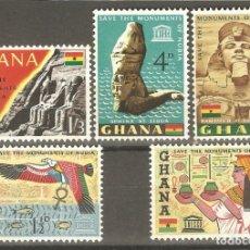 Sellos: GHANA,5 V.NUEVOS,G.ORIGINAL,SIN FIJASELLOS,UNESCO,SALVAR MONUMENTOS DE NUBIA.. Lote 176391810