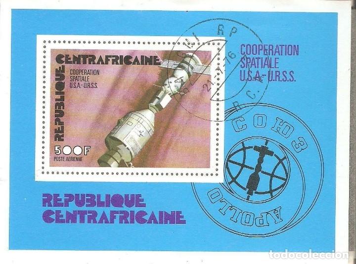 HOJITA REP.CENTROAFRICANA,1976,CAT.MI BL 9, USADA. (Sellos - España - Colonias Españolas y Dependencias - África - Otros)