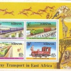 Sellos: KENIA,1976, HOJITA 4 VALORES FERROCARRIL.NUEVA,GOMA ORIGINAL,CON FIJASELLOS.. Lote 176392162