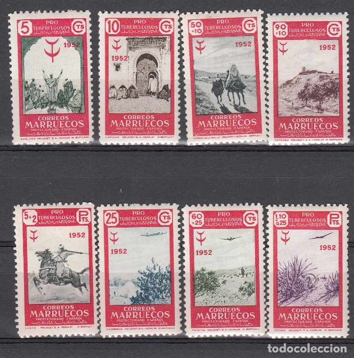 MARRUECOS NUMS 361 A 368 NUEVOS CON FIJASELLOS (Sellos - España - Colonias Españolas y Dependencias - África - Marruecos)