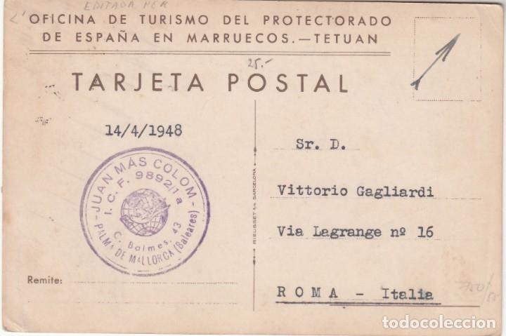 Sellos: TARJETA POSTAL. Editada por la Oficina de Turismo del Protectorado, Tetuan a Roma, - Foto 2 - 177426819