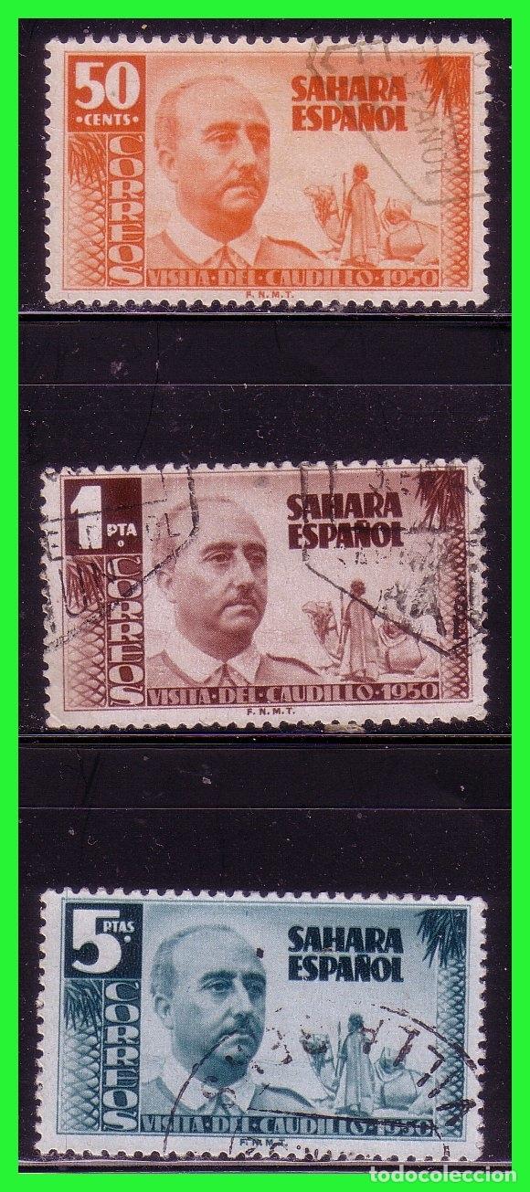 SAHARA 1951 VISITA DEL GENERAL FRANCO, EDIFIL Nº 88 A 90 (O) (Sellos - España - Colonias Españolas y Dependencias - África - Sahara)