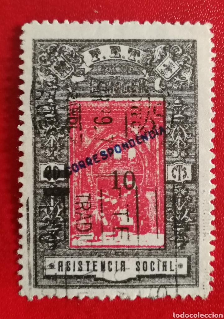 VIÑETA USADA F. E. T Y., TANGER (FOTOGRAFÍA REAL) (Sellos - España - Colonias Españolas y Dependencias - África - Tanger)
