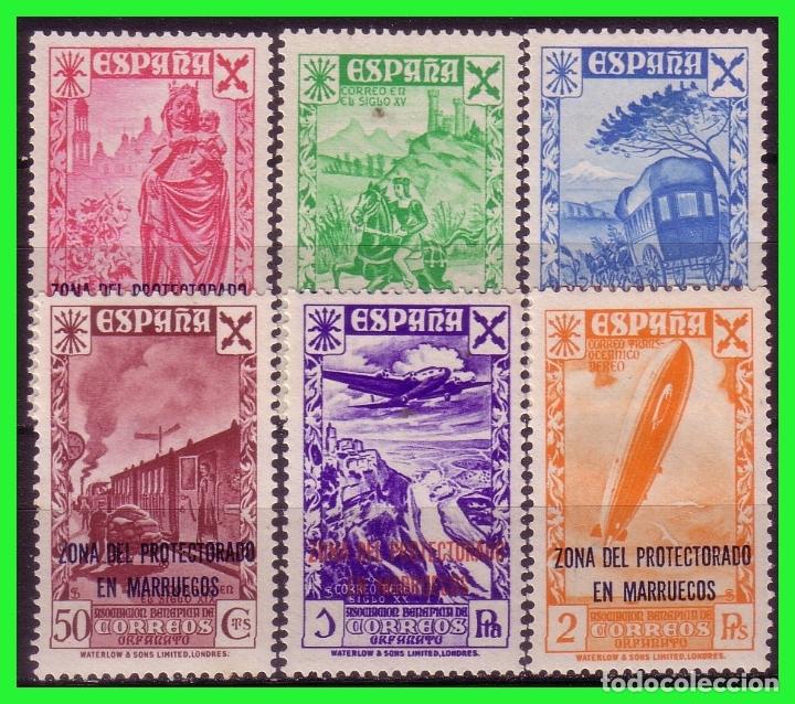 MARRUECOS BENEFICENCIA 1943 Hª CORREO HABILITADOS, EDIFIL Nº 26 A 31 * * LUJO, MARQUILLADOS (Sellos - España - Colonias Españolas y Dependencias - África - Marruecos)