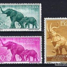 Sellos: GUINEA 1957 - DÍA DEL SELLO - EDIFIL 369/371 - MH* NUEVOS CON FIJASELLOS - FAUNA ELEFANTES. Lote 180395662