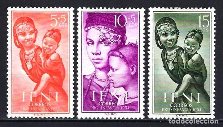 IFNI 1954 - PRO INFANCIA - EDIFIL 114/116 - MH* NUEVOS CON FIJASELLOS - INDÍGENAS (Sellos - España - Colonias Españolas y Dependencias - África - Ifni)