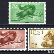 Sellos: IFNI 1955 - DÍA DEL SELLO - EDIFIL 125/127 - MH* NUEVOS CON FIJASELLOS - ANIMALES ARDILLAS FAUNA. Lote 180398011