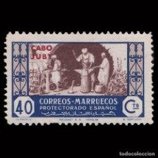 Sellos: SELLOS.CABO JUBY.1946.ARTESANÍA.40C.AZUL CAST.NUEVO**.EDIFIL.157. Lote 180942836