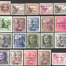 Sellos: IFNI, 1948-1949 EDIFIL Nº 37 / 56 /*/, CID Y GENERAL FRANCO, HABILITADOS . Lote 182542425
