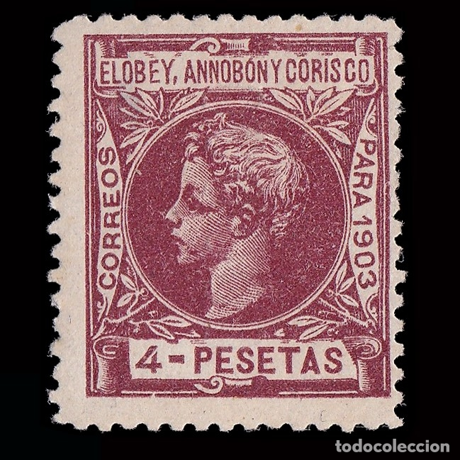 Sellos: ELOBEY ANNOBÓN MORISCO .1903 Alfonso XIII Edifil 16.4p.Marquilla.Nuevo*nº 000,000 - Foto 2 - 183090371