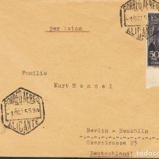 Sellos: ESPAÑA. 2º CENTENARIO ANTERIOR A 1960. SOBRE 1125. 1955. 50 PTS VIOLETA, BORDE DE HOJA. ALICANTE A. Lote 183121367